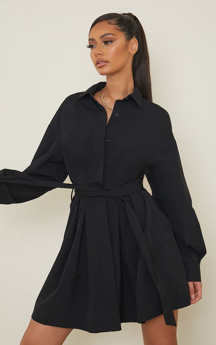 Black Pleated Detail Button Down Shirt Dress 1