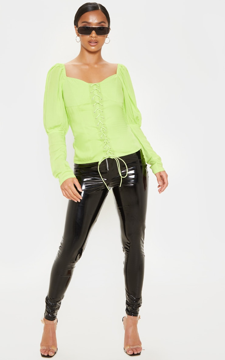Petite Neon Lime Lace Up Cup Sleeve Puff Long Sleeve  Top 1