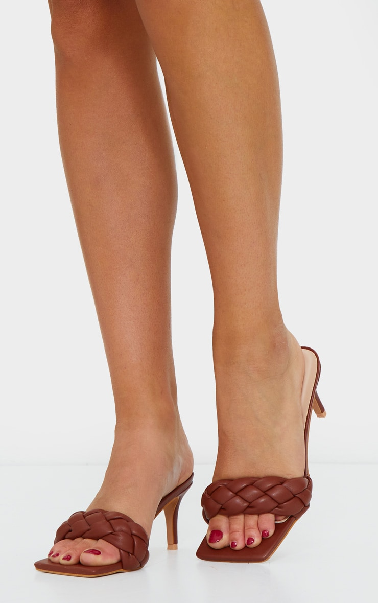Rust Extreme Square Quilted Plaited PU Low Heel Mule 1