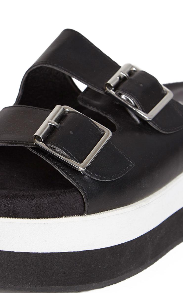 Cody Black Buckle Flatform Sandals 3