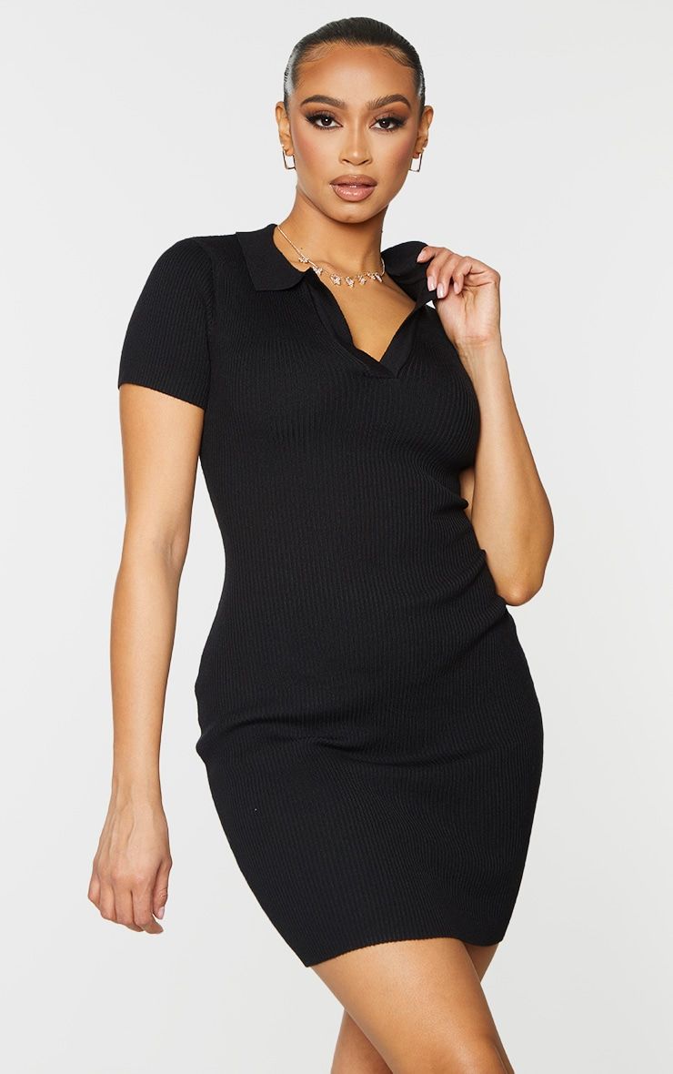 Black Ribbed Bodycon Mini Collared Knitted Dress 1