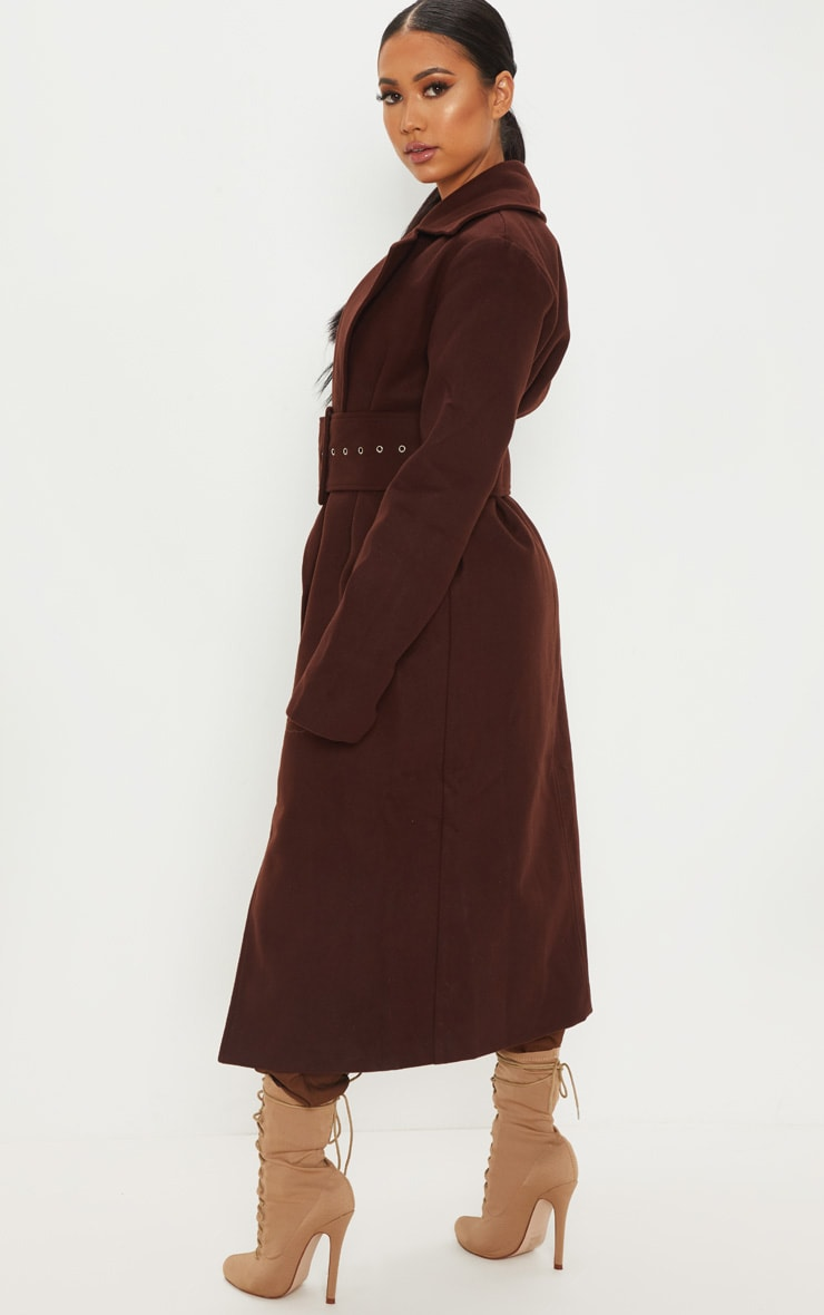 Petite Chocolate Brown Belted Coat 2