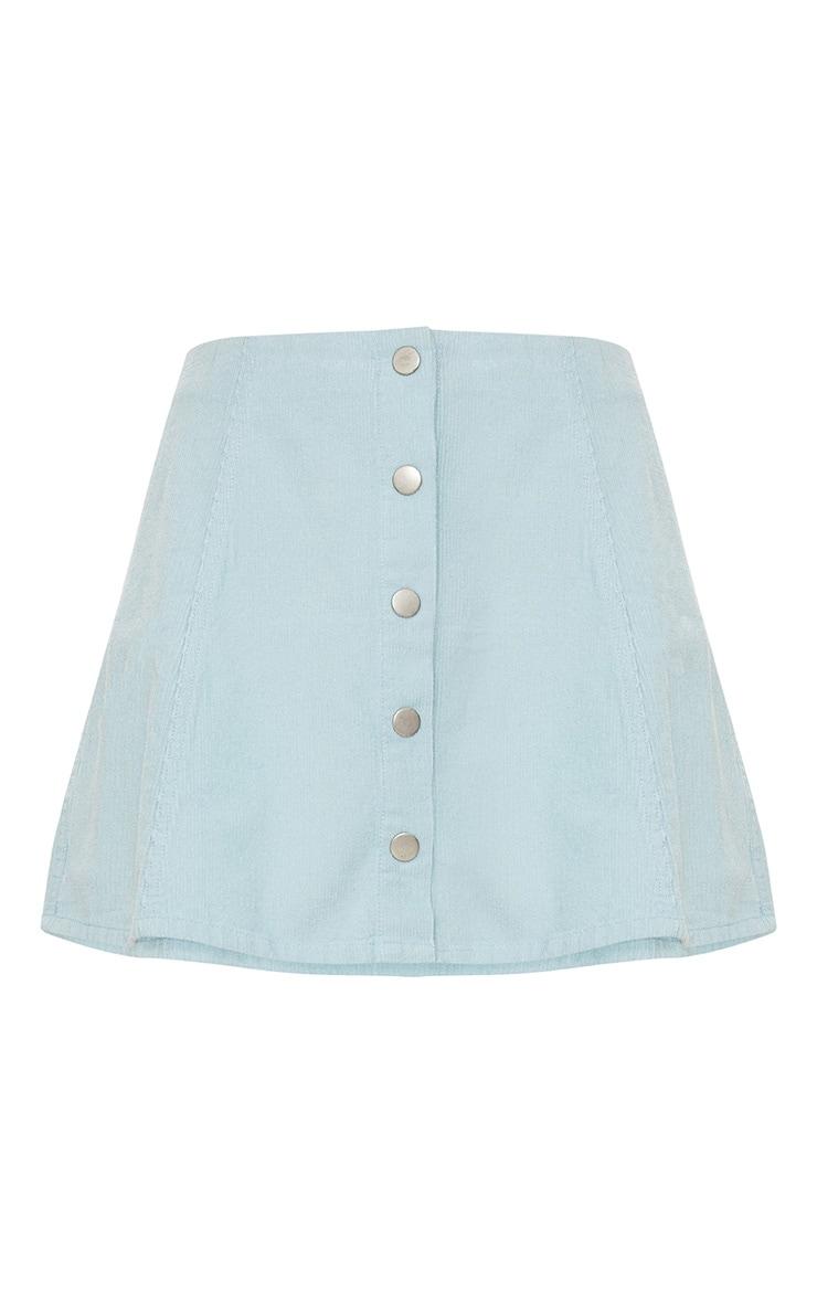 Baby Blue A-Line Cord Mini Skirt 3