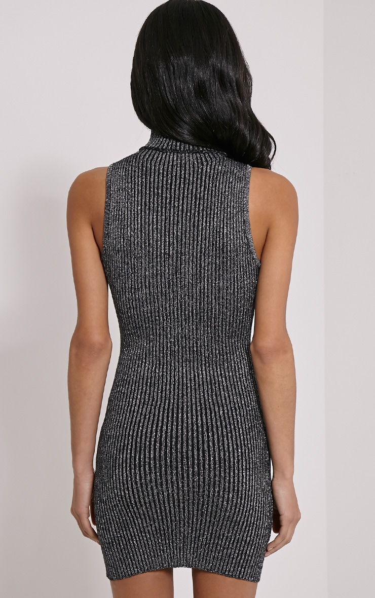 Tanya Silver High Neck Metallic Knitted Dress 2