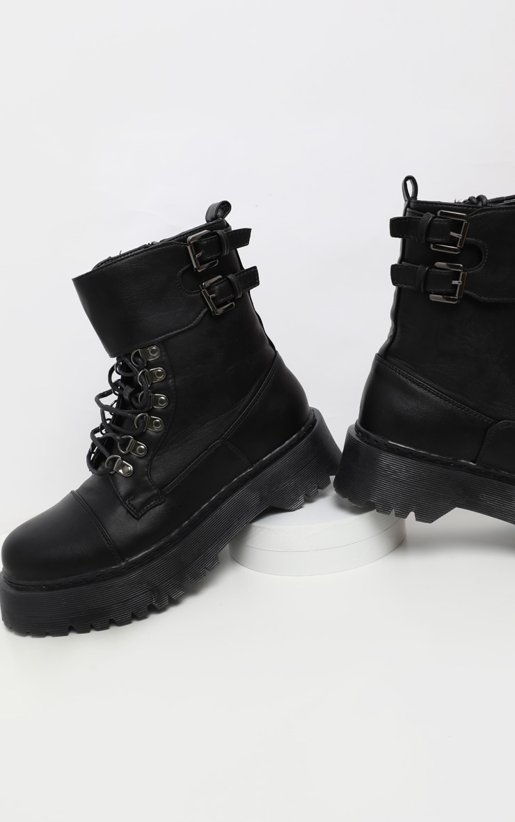 Black Military Chunky Ankle Boot 3