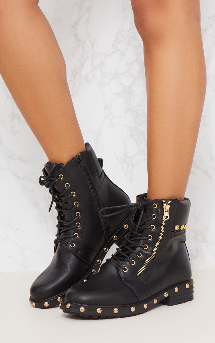 Black Studded Lace Up Boot 3