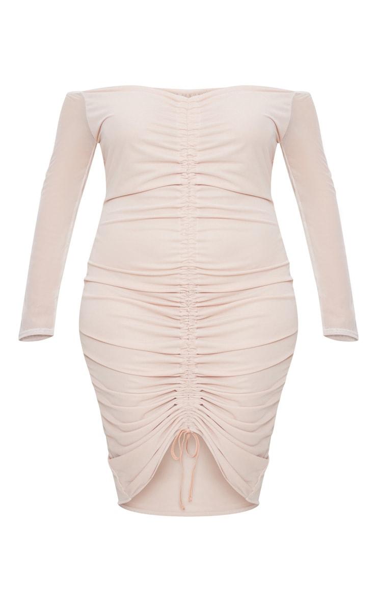 Plus Nude Mesh Ruched Bardot Midi Dress 3