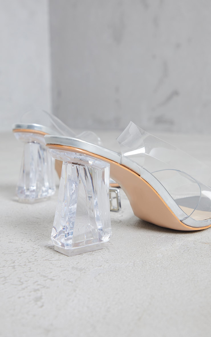 Silver Clear Ankle Strap Block Cone Heeled Sandals 3