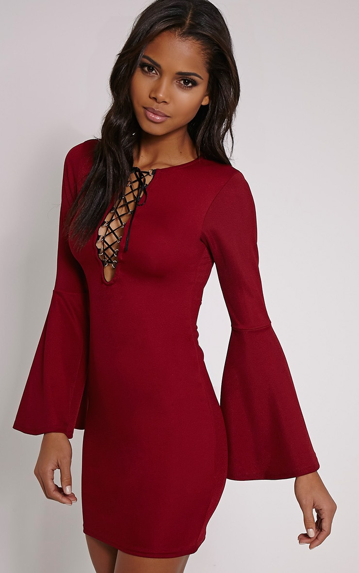 Opal Burgundy Bell Sleeve Lace Up Mini Dress 1