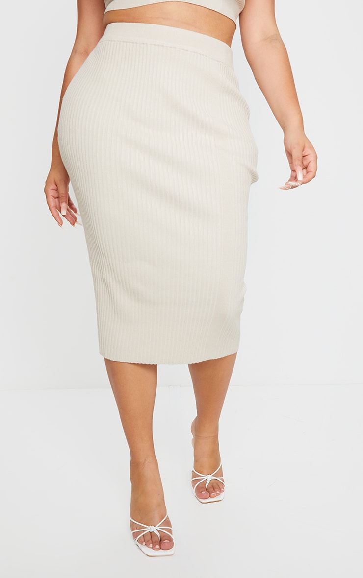 Plus Stone Rib Knit Midi Skirt 2