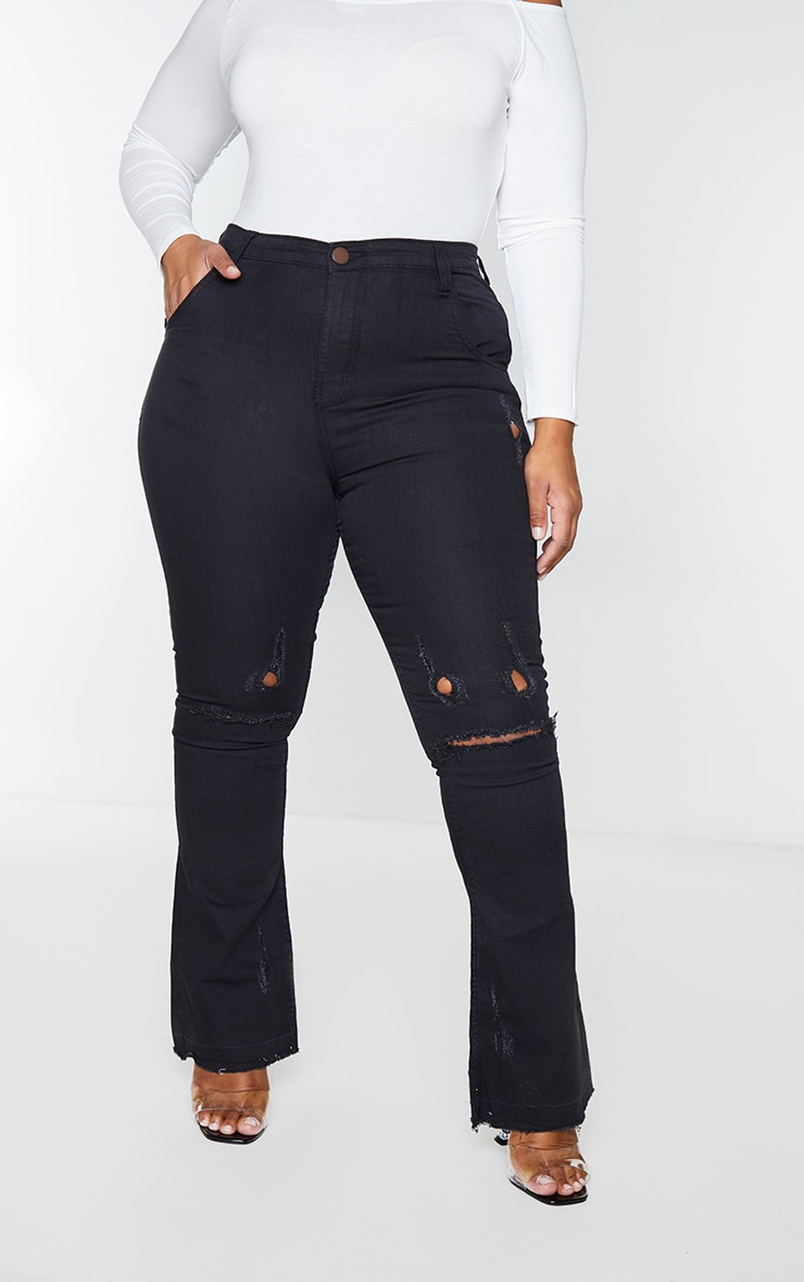 Plus Black Distressed Knee Flare Jean 2