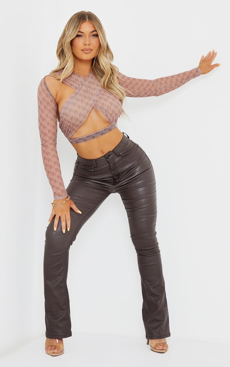 PRETTYLITTLETHING Taupe Monogram Printed Mesh Underbust Cross Front Long Sleeve Crop Top 3