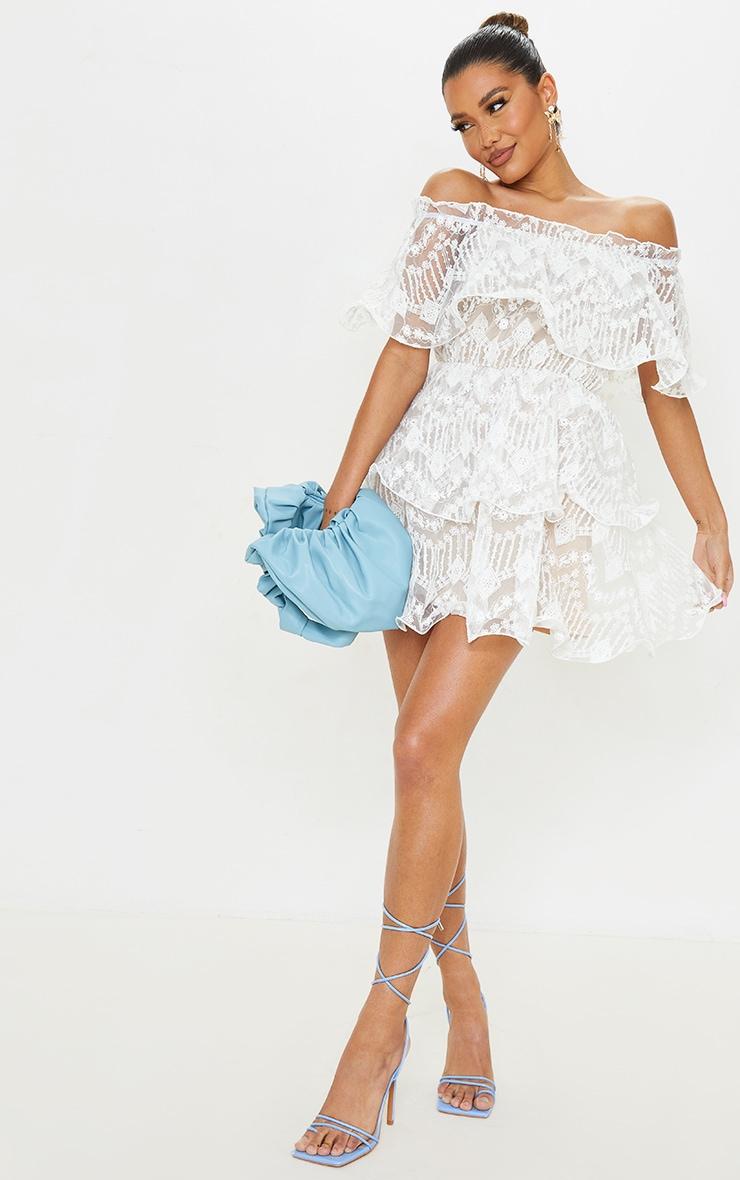 White Lace Bardot Ruffle Tiered Dress 3