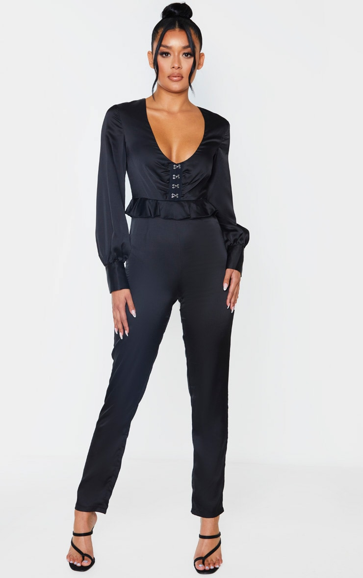 Black Corset Frill Detail Long Sleeve Jumpsuit 4