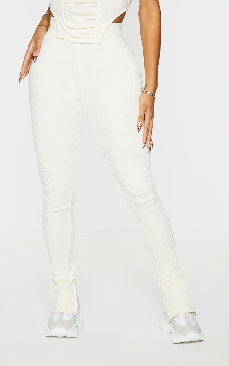 Shape Cream Rib Zip Hem Leggings 2