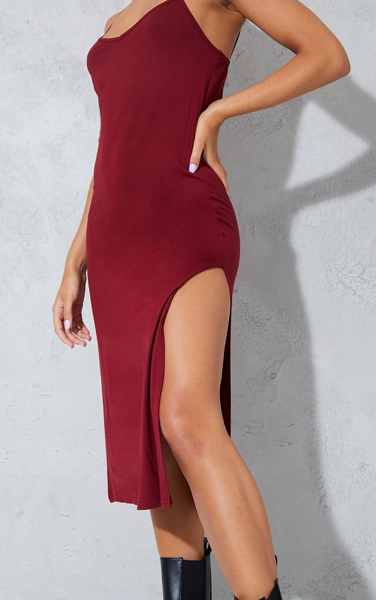 Dark Red Jersey Split Cami Midi Dress 4