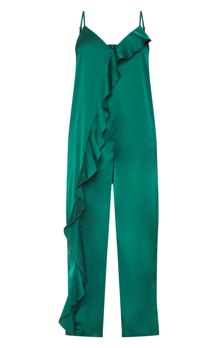 Emerald Green Satin Strappy Oversized Culotte Jumpsuit 3