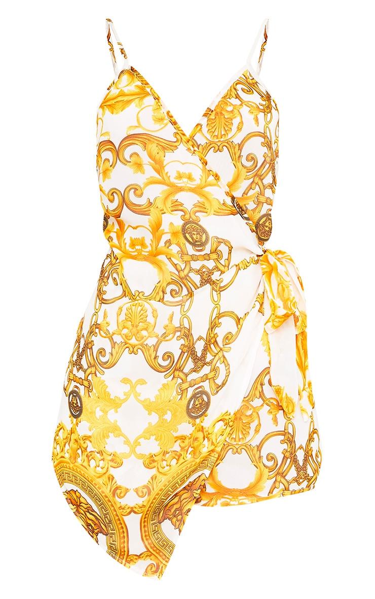 Megane White Chain Print Wrap Bow Playsuit 3