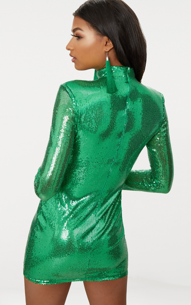 Bright Green Sequin Long Sleeve Shoulder Pad Bodycon Dress 4