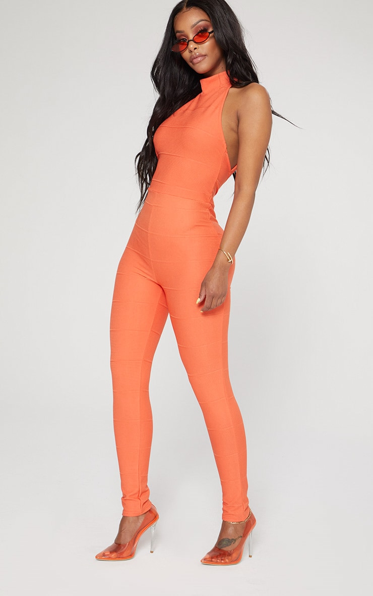 Shape Orange Bandage High Neck Jumpsuit 4