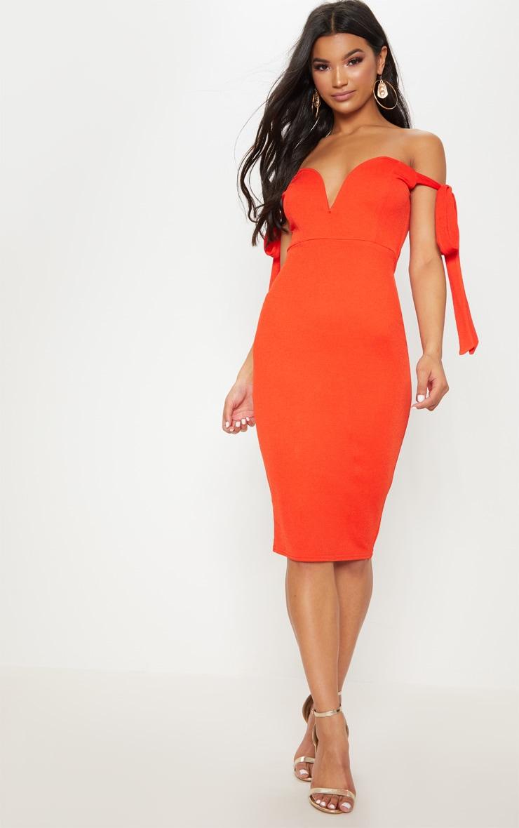 Tangerine Tie Strap Detail V Bar Bardot Midi Dress 1