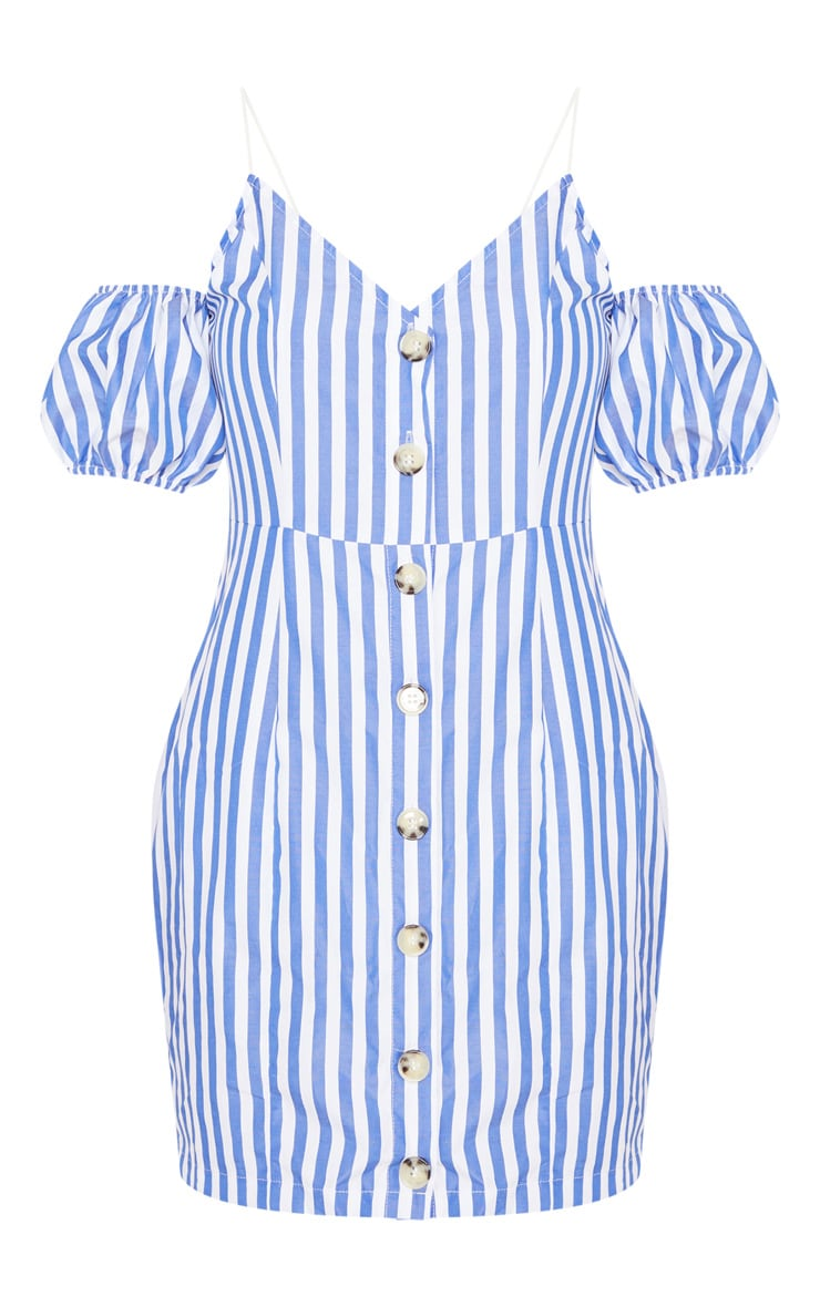 Blue Stripe Print Button Up Puff Sleeve Bodycon Dress 3