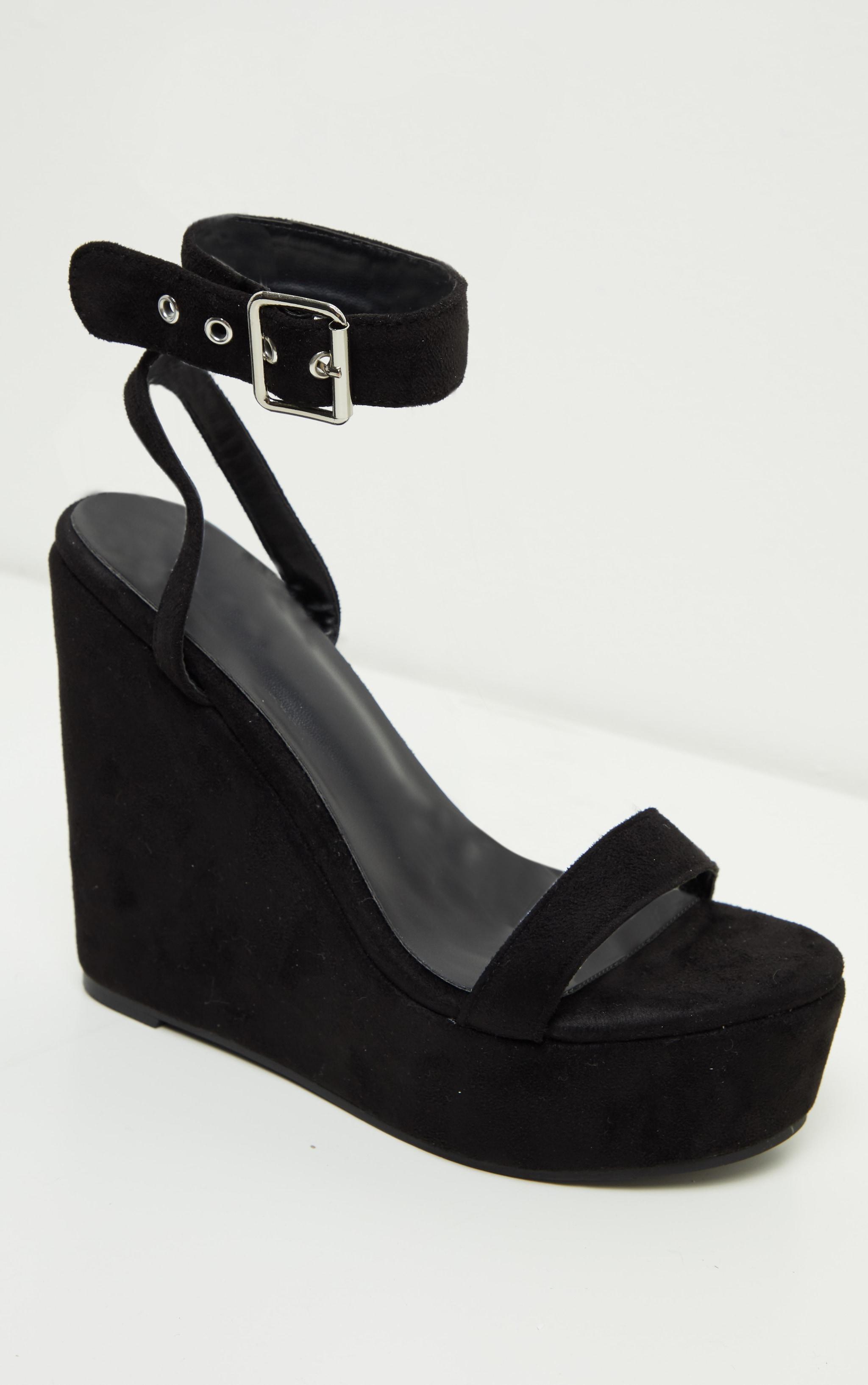 Black Ankle Strap High Wedges