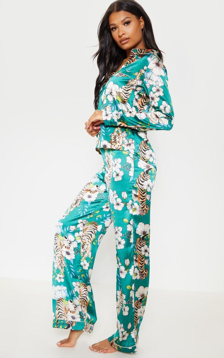 Emerald Tiger Blossom Wide Leg Satin Pyjama Set 4