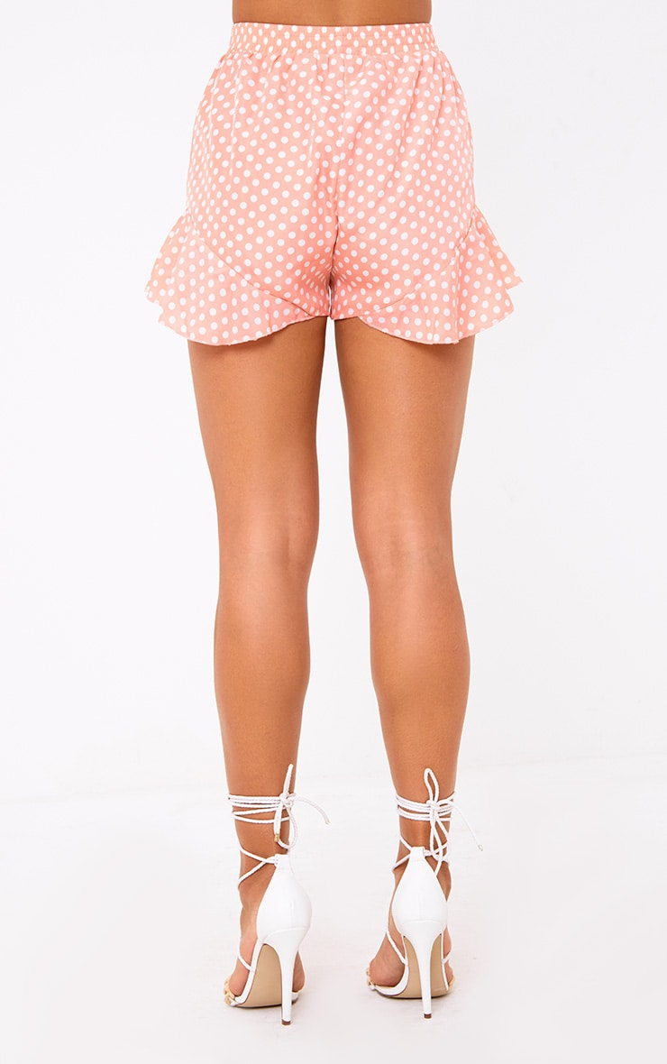 Pink Polka Dot Ruffle Shorts 4