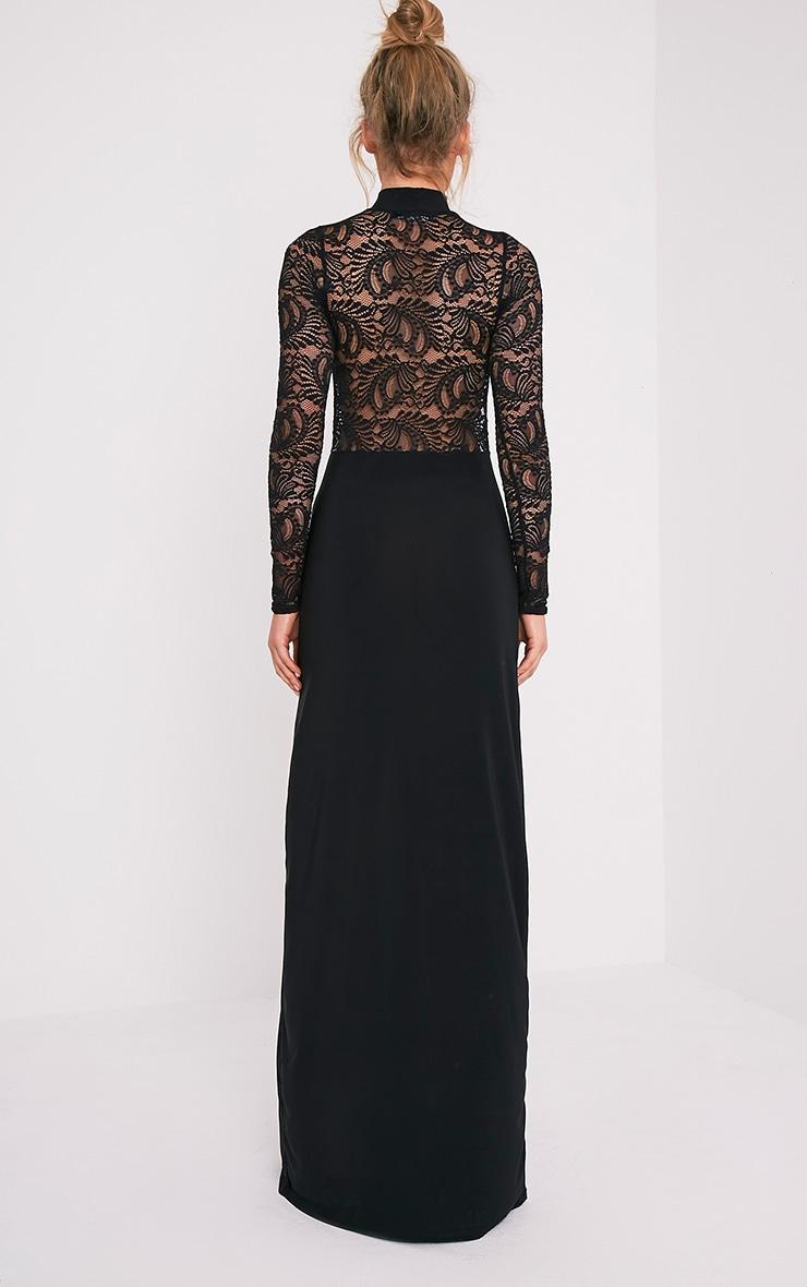 Maisie Black Lace Top Split Side Maxi Dress 2