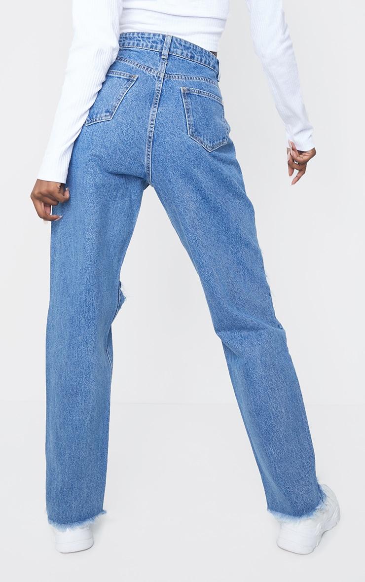 PRETTYLITTLETHING Tall Mid Blue Extreme Distressed Hem Boyfriend Jeans 3