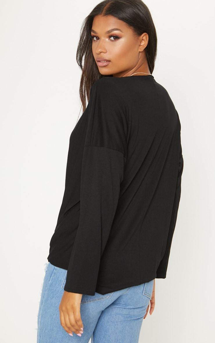 Black Jersey Drape Wrap Top 2