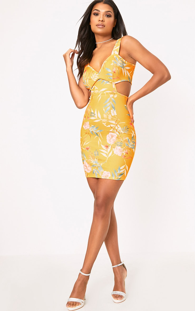 Yellow Floral Cut Out Detail Bodycon Dress 4