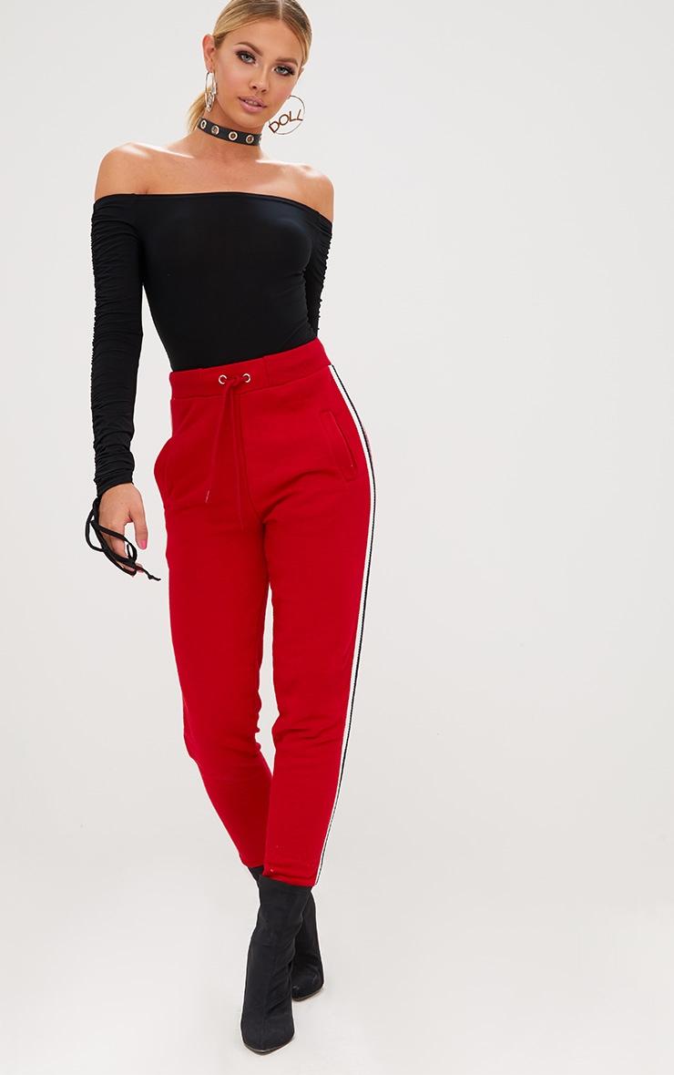Black Ruched Tie Sleeve Bardot Thong Bodysuit 5
