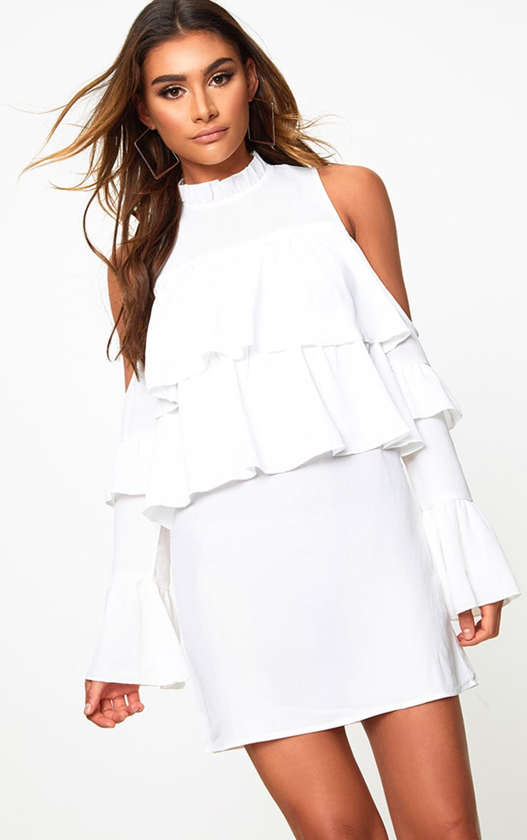 White Cold Shoulder Ruffle Detail Shift Dress 1