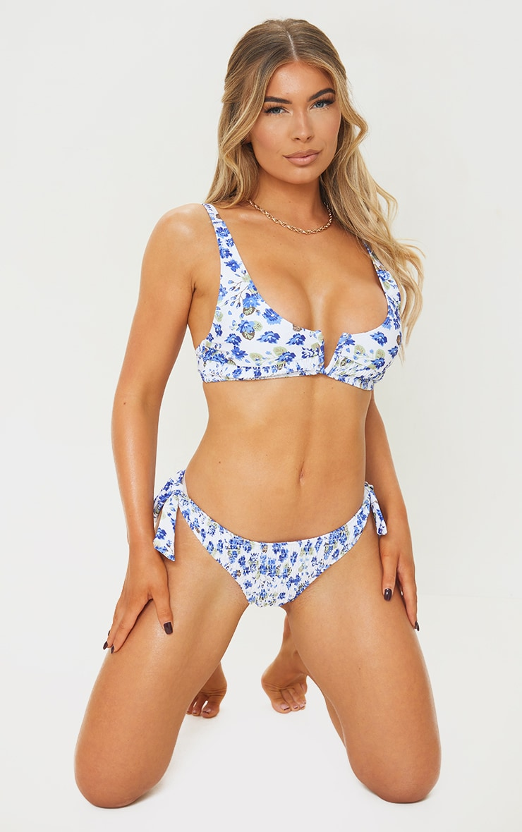 Multi Floral Smocked V Wire Bikini Top 3