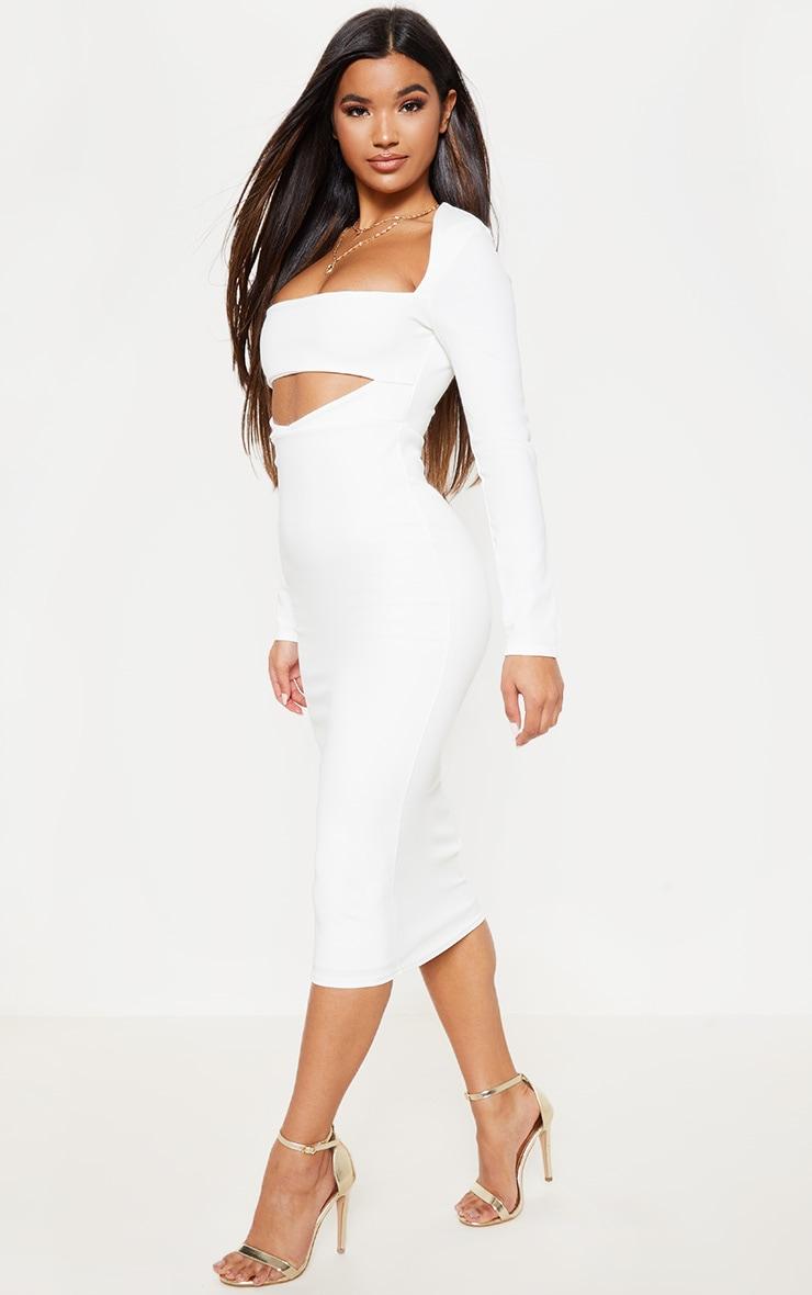 White Shoulder Pad Cut Out Midi Dress 4
