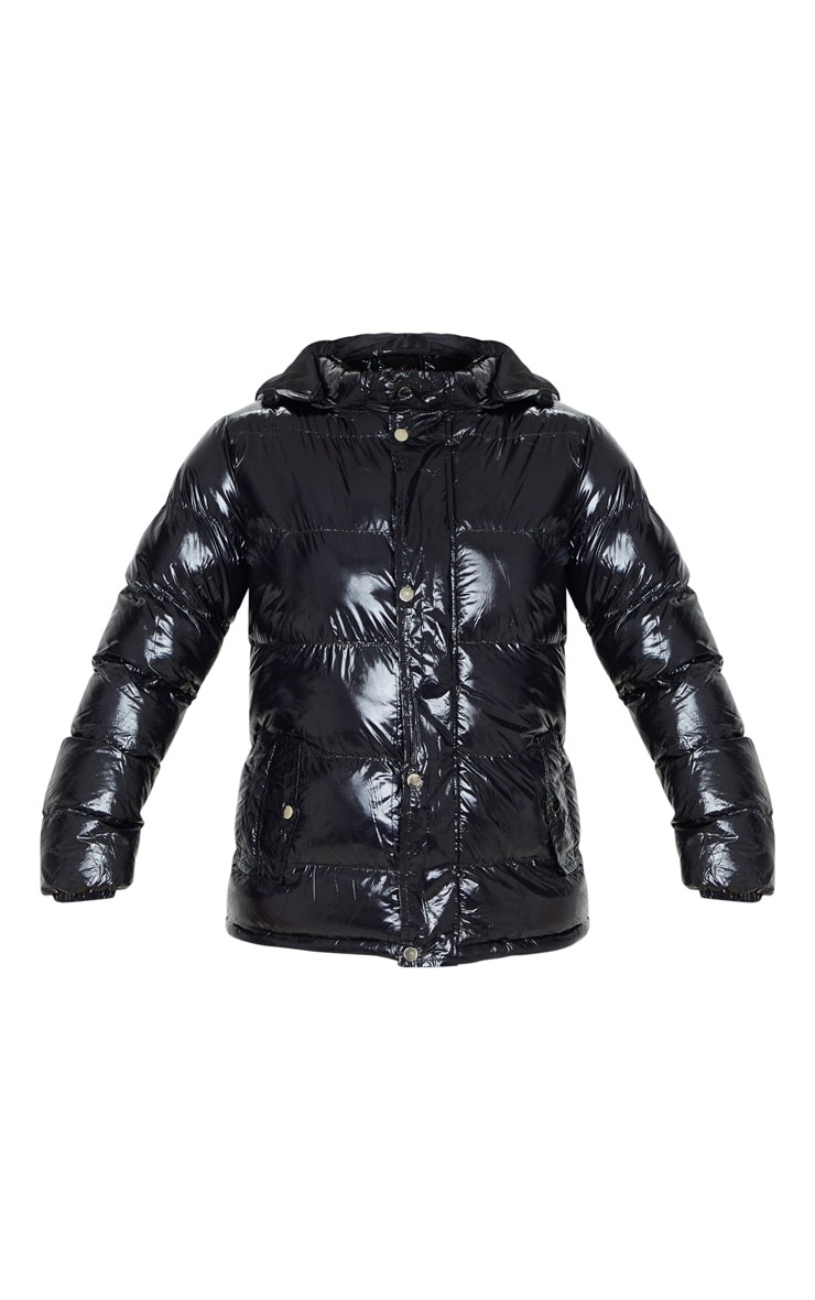 Black High Shine Hooded Puffer Coat 3