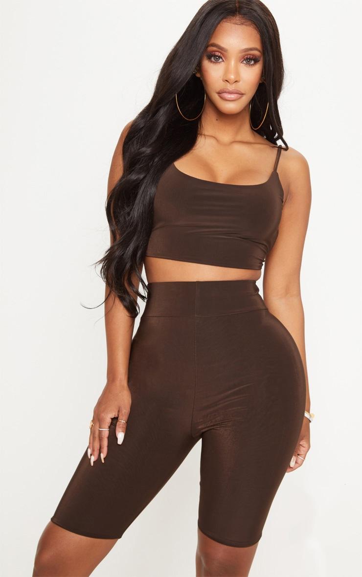 Shape - Short legging moulant marron chocolat 1