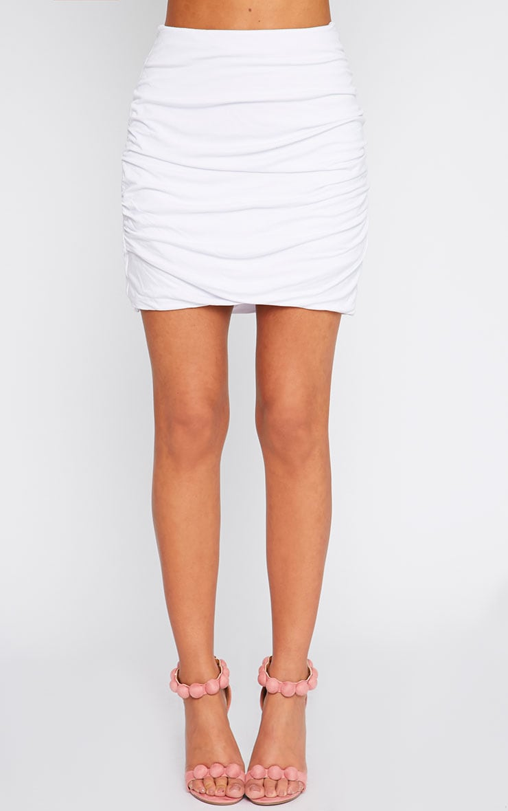 White Jersey Ruched Mini Skirt  2