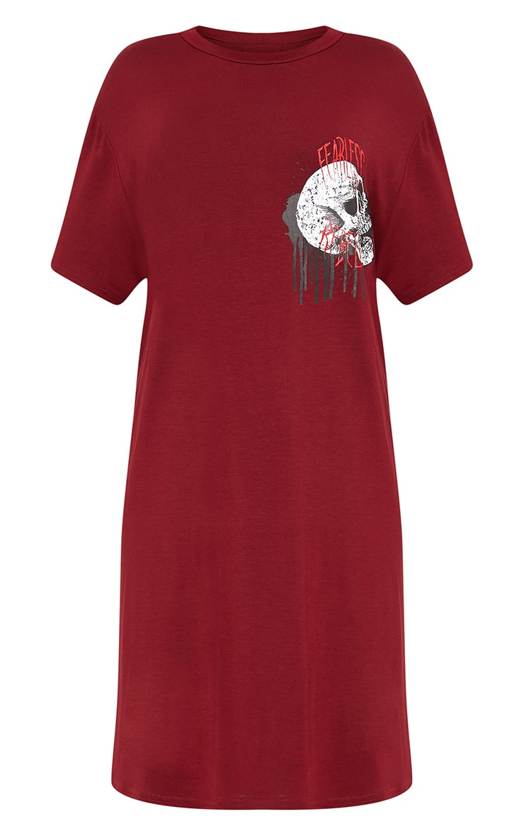 Fearless Rebellion Burgundy T Shirt Dress  3