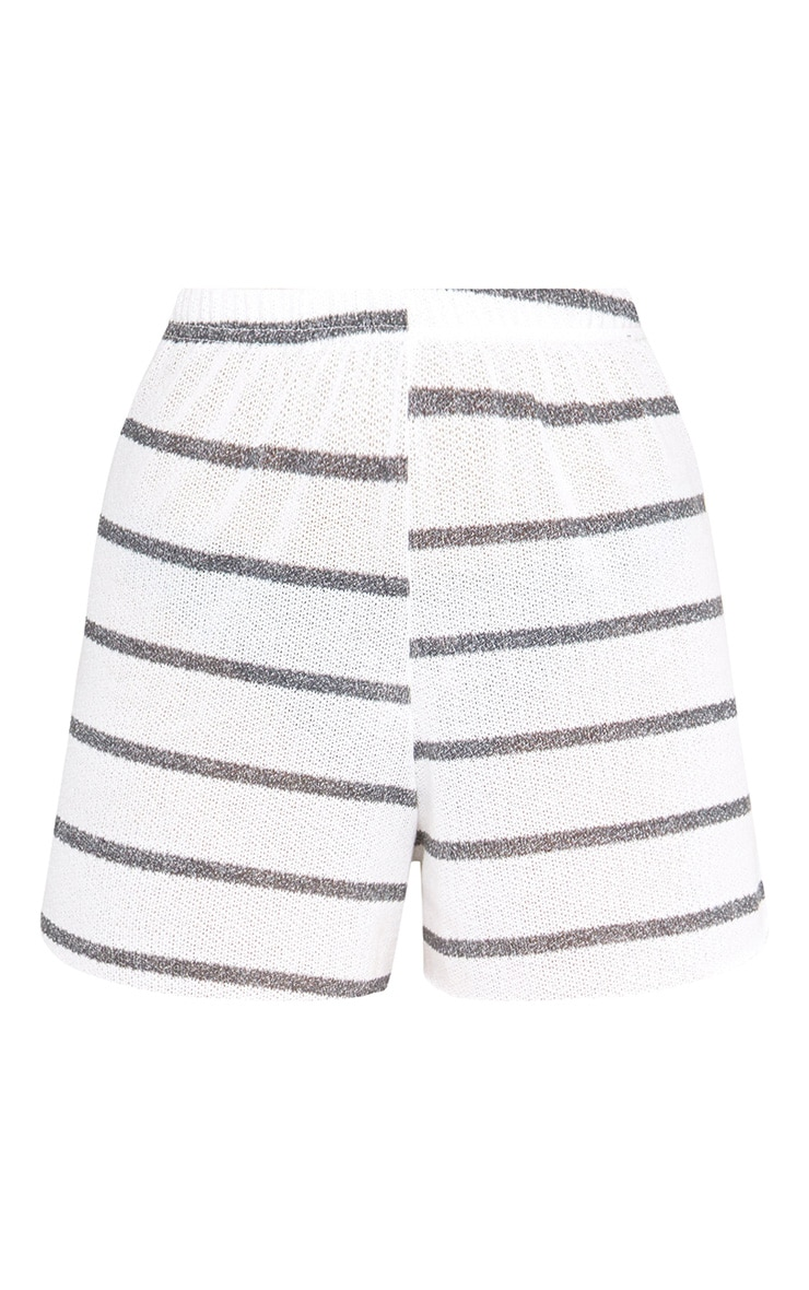 White Stripe Lightweight Knit Floaty Shorts 3