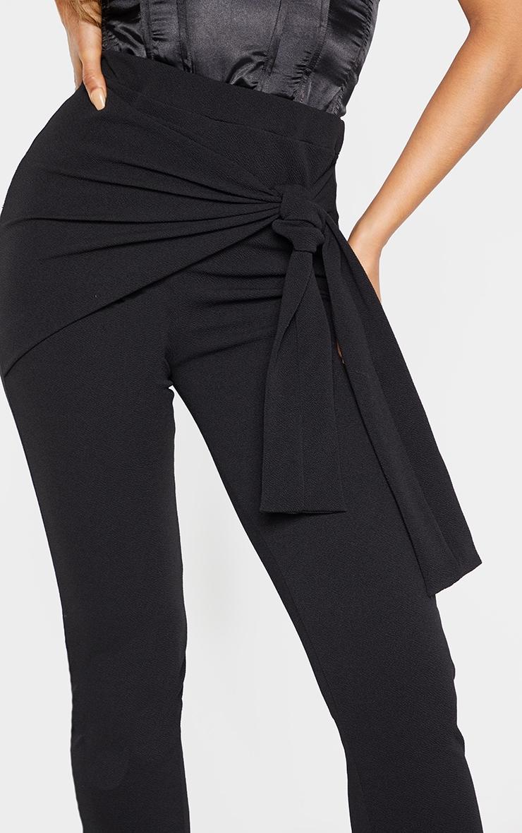 Tall Black Tie Detail Crepe Pants 5