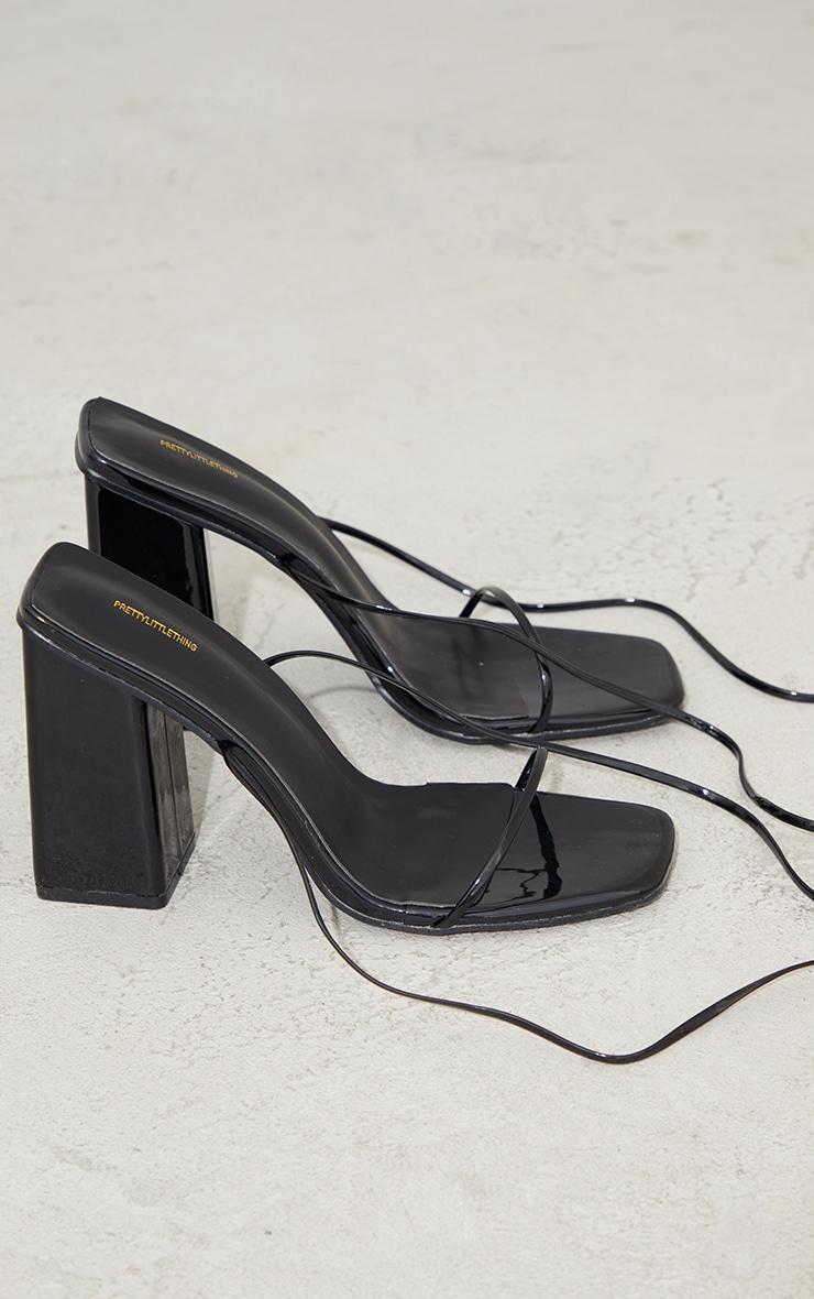 Black Patent PU Strappy Block Heel Sandals 4