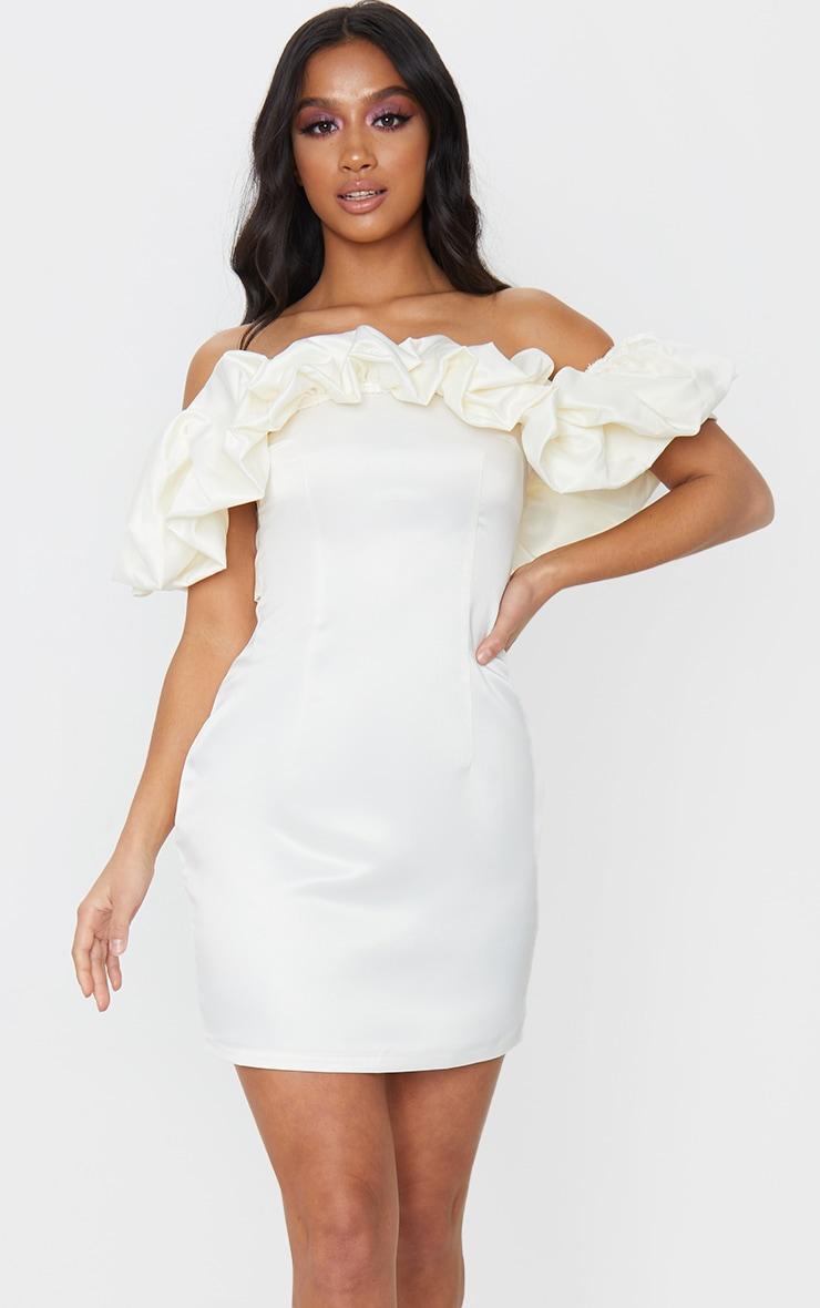 Petite Cream Ruched Bardot Dress 1