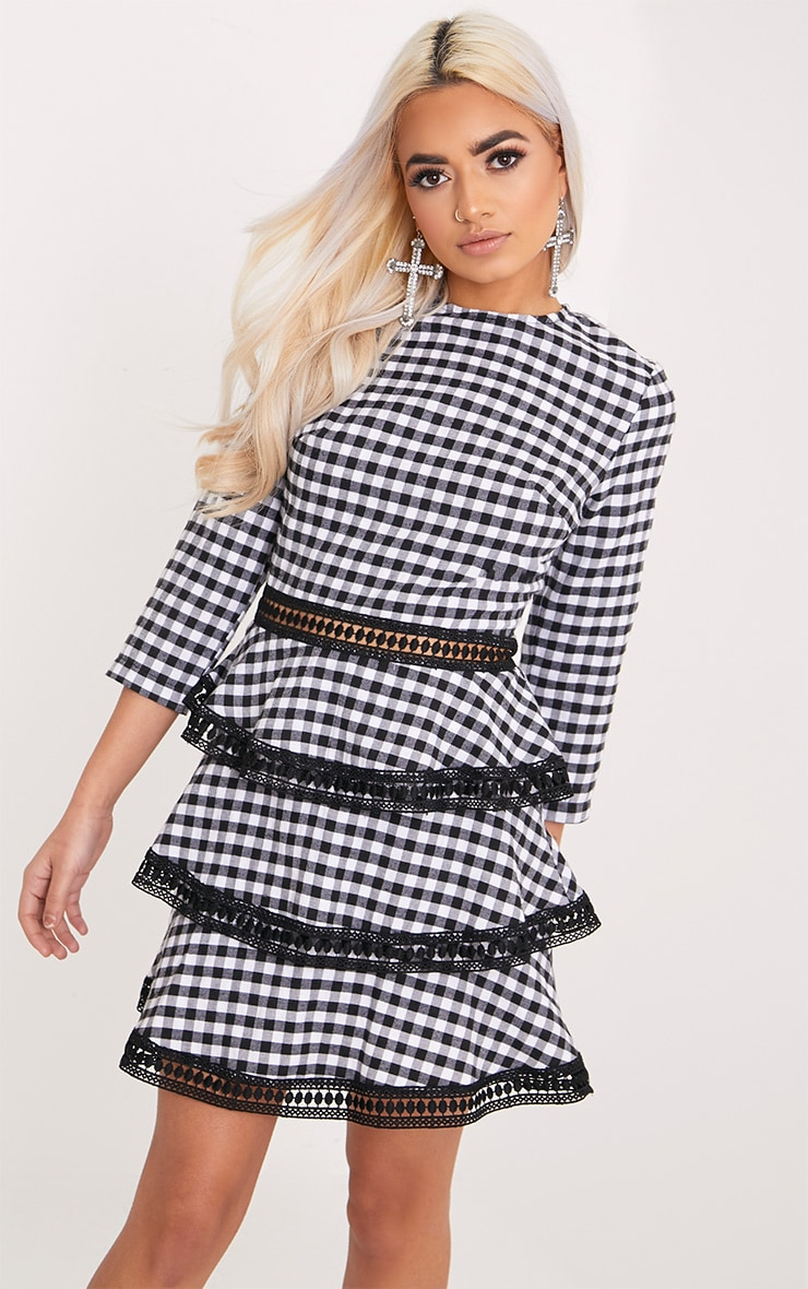 Teressa Gingham Lace Trim Mini Dress 1