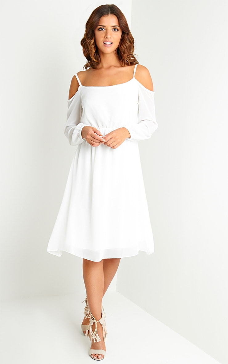 Jena Cream Cold Shoulder Chiffon Dress 1