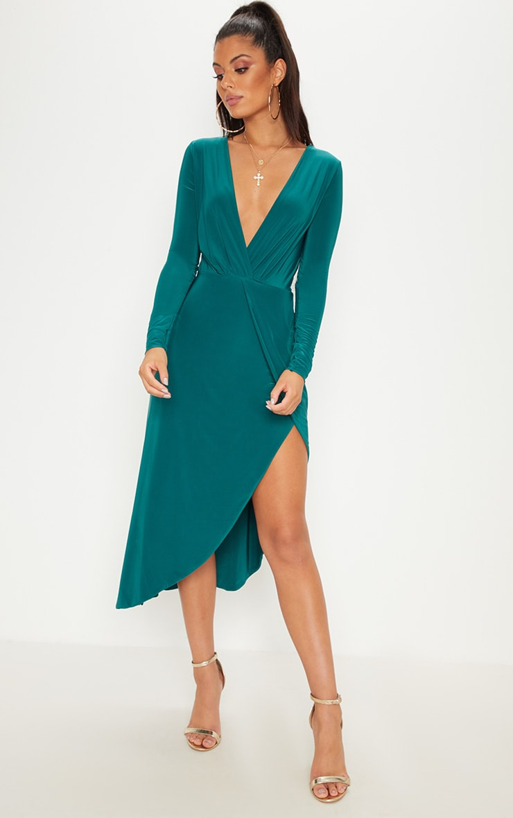 Emerald Green Plunge Wrap Asymmetric Hem Midi Dress