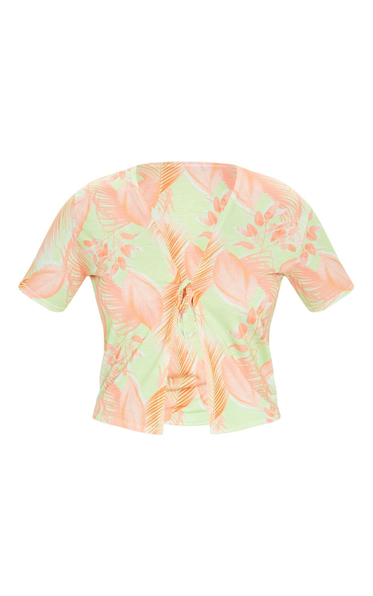 Lime Tropical Print Tie Front Short Sleeve Crop Top 5