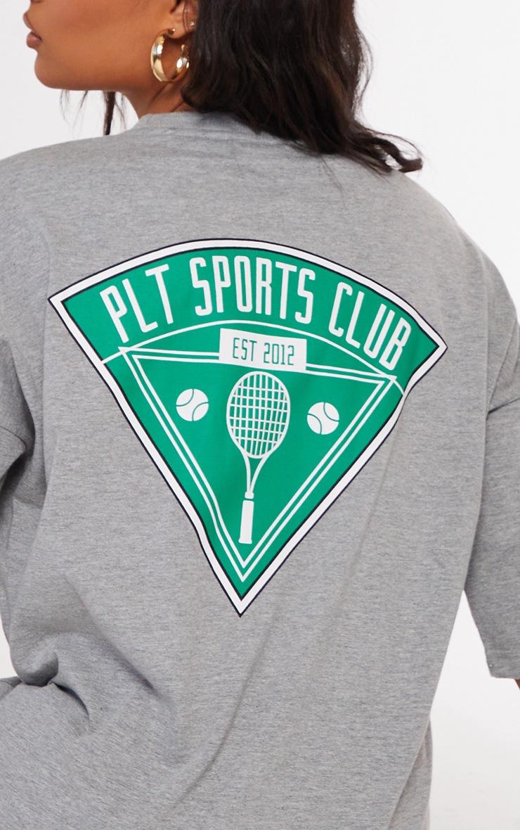 PRETTYLITTLETHING Grey Marl Slogan Pocket Detail Oversized T Shirt Dress 4